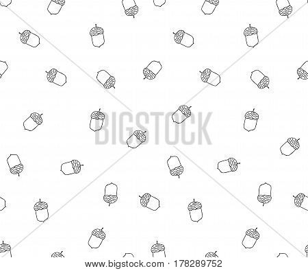 Acorn seamless pattern in doodle style.Hand drawn - vectror illustration.