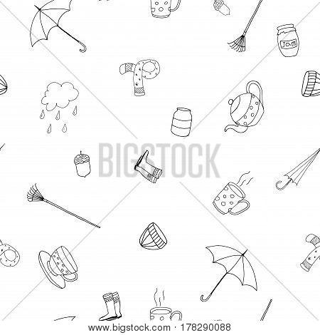 Sketch pattern - seamless vector backgrund. Autumn season.