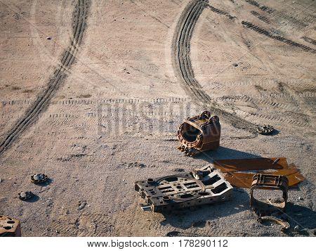 Broken equipment in a stone quarry. Broken equipment in a stone quarry. Landscape similar to the lunar