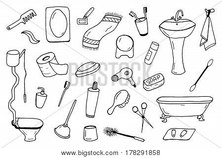 Bathroom accessories collection.Vector illustration in doodle style.