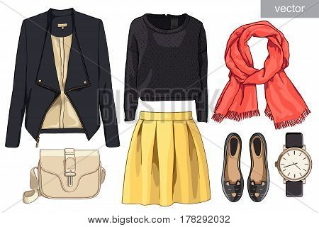 Lady fashion set of autumn, spring season outfit. Illustration stylish and trendy clothing. Skirt, jacket, jacket, scarf, watch, handbags, ballet shoes of mouse. Vector.