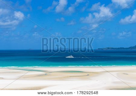 White Cruise Ship, Boat On Turquoise Blue Waters Of Coral Sea