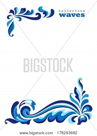 Blue wave and flourishes, curly frame, corner decoration on white