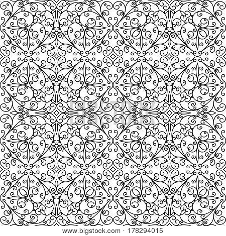 Black and white swirly ornament, abstract seamless pattern