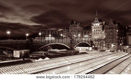 Edinburgh city view at night in UK.