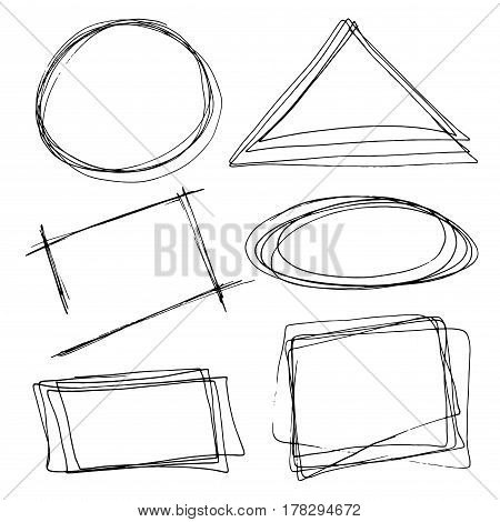 Set of hand drawn frames.Vector illustration in doole style.