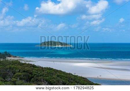 Coral Reef Island And Tropical Beach At Sunny Day