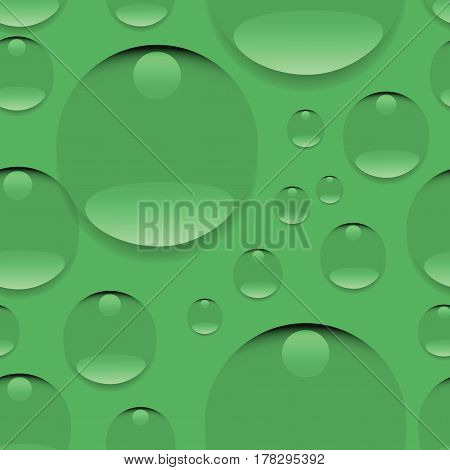 Dew on a green background. Seamless pattern. Realistic pure water, isolated transparent drops. Design for website background, textile, tapestries, packaging materials, environmental posters.