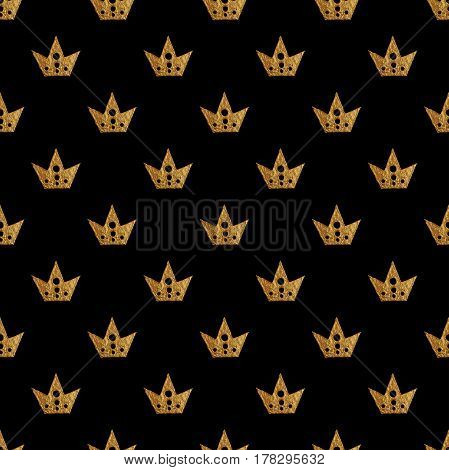 Crown pattern. Hand painting seamless background. Vintage gold illustration.