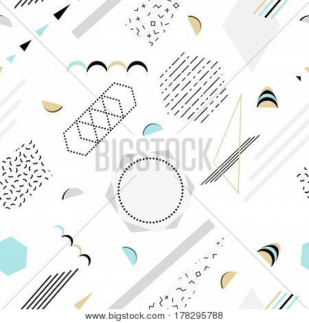 Vector abstract memphis pattern with mosaic geometric shapes - seamless. Retro memphis hipster style, fashion 80-90s.