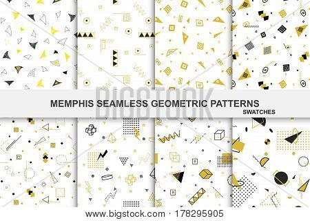 Collection of retro geometric patterns with mosaic shapes - seamless swatches. Retro memphis style. Fashion 1980-1990s. Luxury black - gold textures.