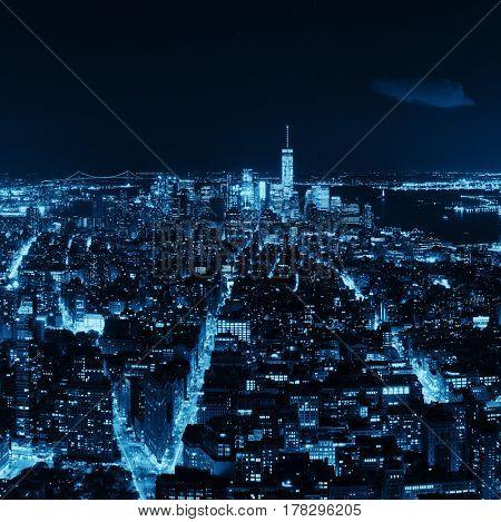 New York City downtown skyline night view.