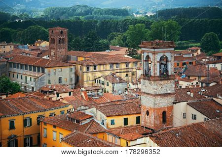 Lucca historic buildings viewed from above in Italy.