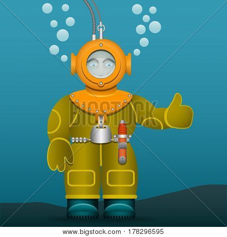 Diver in an old suit and scuba diving helmet. Cartoon style. Vector illustration.
