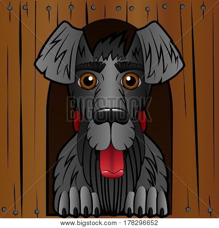 The dog in the booth. The wooden box and a black dog. Cartoon style. Cheerful character. Vector illustration.