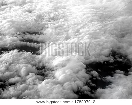 Cloud and sky formations seen from the plane.
