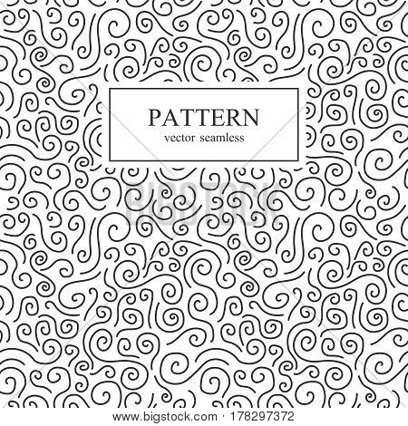 Curve seamless pattern in memphis style. Retro fashion 80-90s.