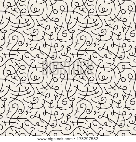 Curve seamless pattern in retro style 80-90s fashion.