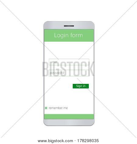 Mobile login form . Sign in interface for mobile app
