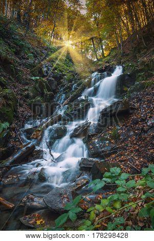 Great waterfall in a Carpathian deep forest