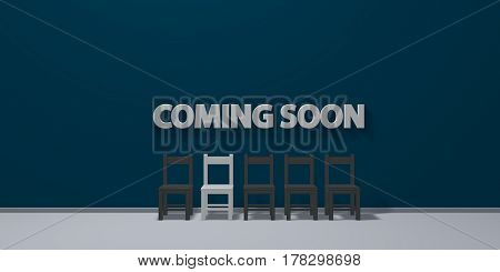 the words coming soon on wound and row of chairs - 3d rendering