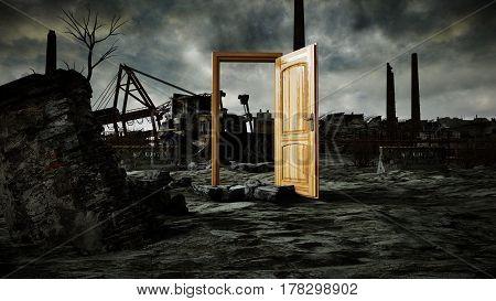 opened door. A portal in ecological catastrophe, apocalypse. 3d rendering