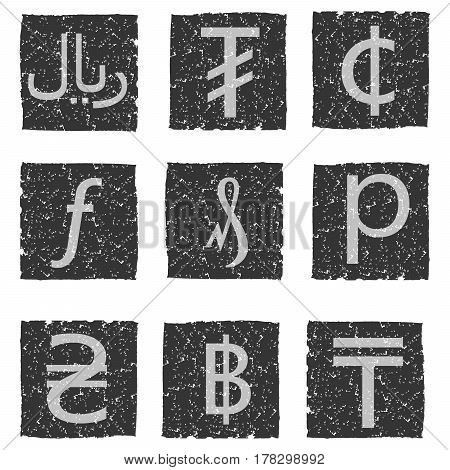 Vector illustration of black and white grunge icons with symbols of various currencies - hryvnia penny cent rial riyal baht tugrik tenge florin forint pfennig.