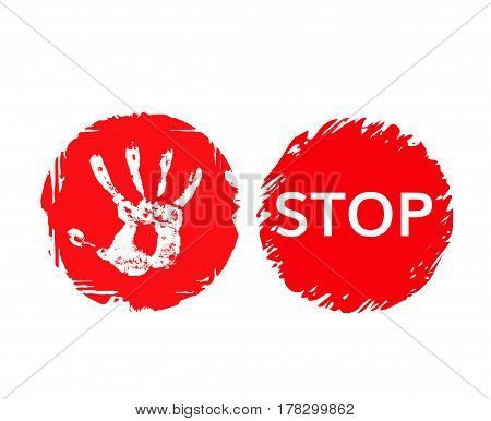 Stop grunge sign with hand print and word stop . Red stop banner