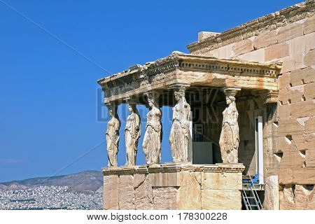 Beautiful view of The caryatids of the Erechtheion, GREECE.