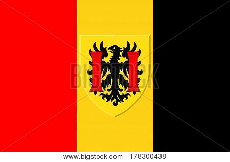 Flag of Besancon is the capital of the department of Doubs and of the Franche-Comte region in eastern France. Vector illustration
