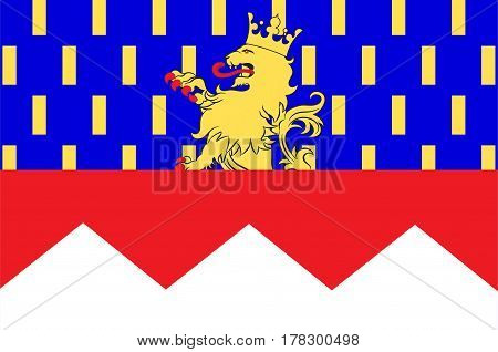 Flag of Jura is a department in the east of France named after the Jura mountains. Vector illustration
