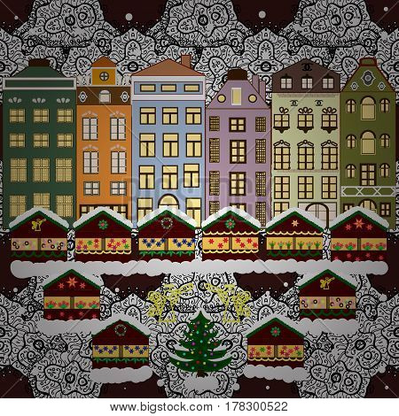 Village in Christmas banner on background with snow and snowflakes. Greeting card. Vector illustration.