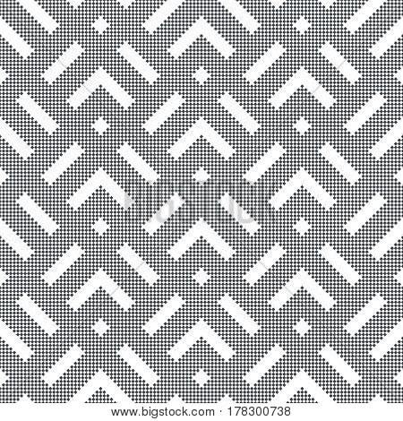 Vector seamless pattern. Infinitely repeating simple elegant texture consisting of small rhombuses which form geometrical shapes: corners strips. Modern textured background.