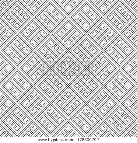 Vector seamless pattern. Infinitely repeating stylish elegant texture consisting of thin lines which form rhombus tiles with outline strips diamonds. Modern geometrical background.
