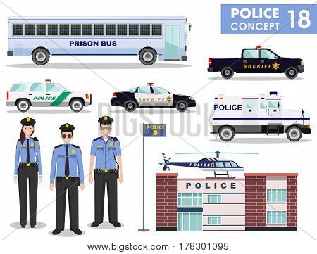 Detailed illustration of police department, police car, police officer, sheriff, helicopter, armored S.W.A.T. truck and prison bus in flat style on white background.