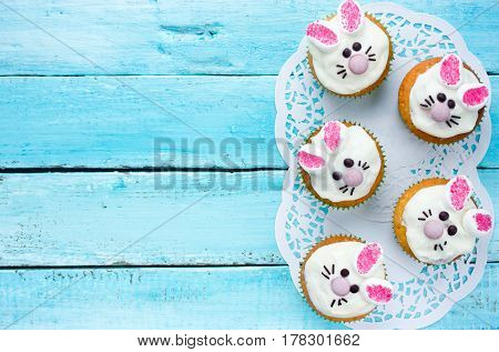 Easter bunny cupcakes , funny dessert for kids on Easter