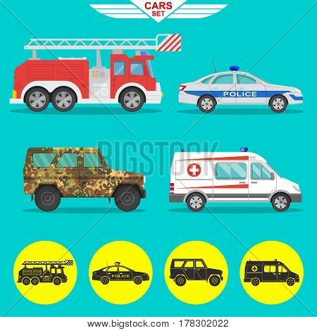 A set of vehicles with a shadow. Fire truck ambulance police car military SUV. Icons of cars in flat style. Vector illustration.Design elements.