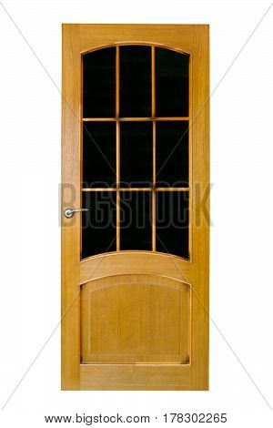Wood yellow door with glass isolated on white