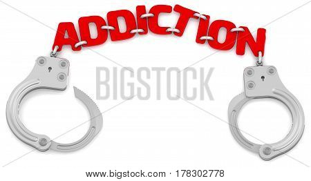 Addiction. Steel handcuffs with red word