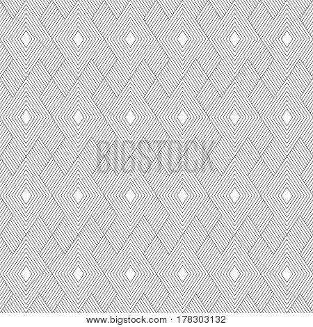 Vector seamless pattern. Infinitely repeating stylish elegant texture consisting of thin lines which form tiles with linear and striped rhombuses diamonds. Modern geometrical background.