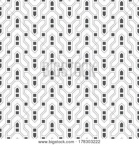 Vector seamless pattern. Infinitely repeating modern geometrical texture consisting of thin broken lines which form zigzag difficult curvilinear shapes squares. Abstract linear textured background.