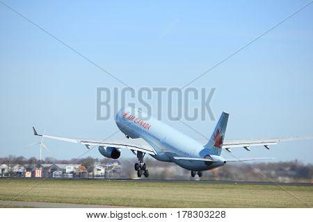 Amsterdam the Netherlands - March 25th 2017: C-GFAJ Air Canada Airbus A330-300 takeoff from Polderbaan runway.