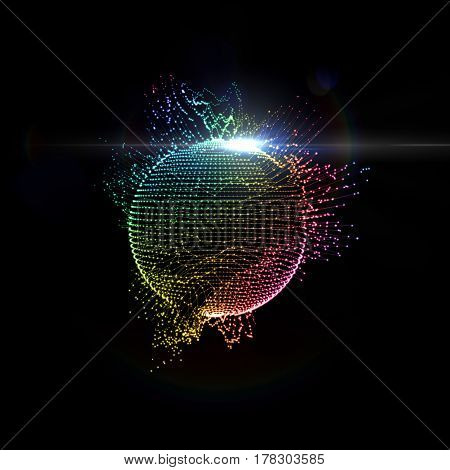 3D illuminated distorted sphere of iridescent glowing particles, wireframe and flare lens light effect. Futuristic vector illustration. Technology digital splash or explosion concept