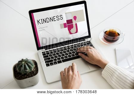 Illustration of blood donation campaign on laptop