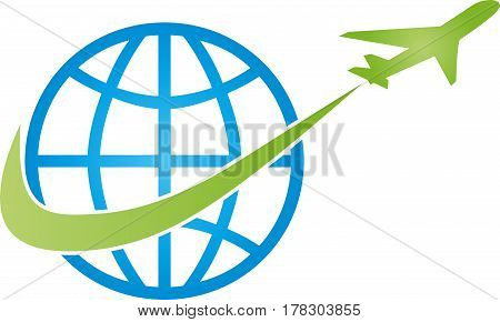 Earth ball and airplane, Transport and logistics logo