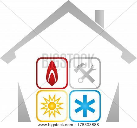 House and sign, colored, plumber and installer logo