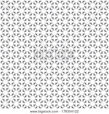 Vector seamless pattern. Infinitely repeating simple elegant texture consisting of outline hexagons crosses triangles. Geometrical cover surface.