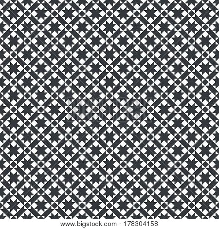 Vector seamless pattern. Infinitely repeating modern geometrical texture consisting of crossed strips which form tiles with rhombuses squares stars. Abstract textured background.