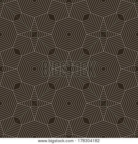 Vector seamless pattern. Infinitely repeating modern geometrical texture consisting of thin lines which form linear polygonal shapes stars rhombuses. Abstract textured background.