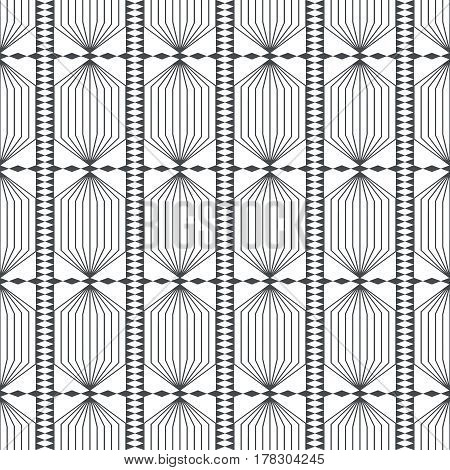 Vector seamless pattern. Infinitely repeating modern geometrical texture consisting of thin lines and triangles which form hexagonal linear grid with striped hexagons and rhombuses.